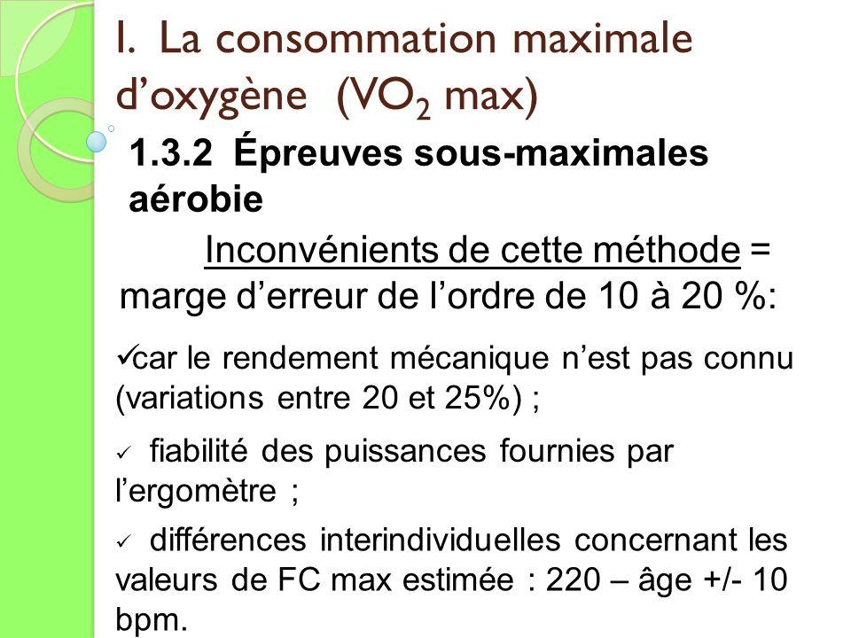 I. La consommation maximale doxygène (VO 2 max) 1.3.2 Épreuves sous-maximales aérobie Inconvénients de cette méthode = marge derreur de lordre de 10 à