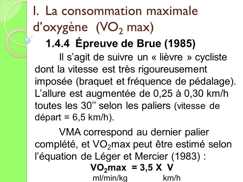 I. La consommation maximale doxygène (VO 2 max) 1.4.4 Épreuve de Brue (1985) Il sagit de suivre un « lièvre » cycliste dont la vitesse est très rigour