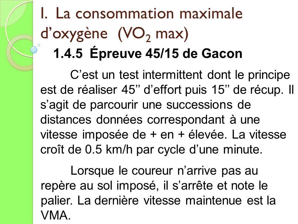 I. La consommation maximale doxygène (VO 2 max) 1.4.5 Épreuve 45/15 de Gacon Cest un test intermittent dont le principe est de réaliser 45 deffort pui