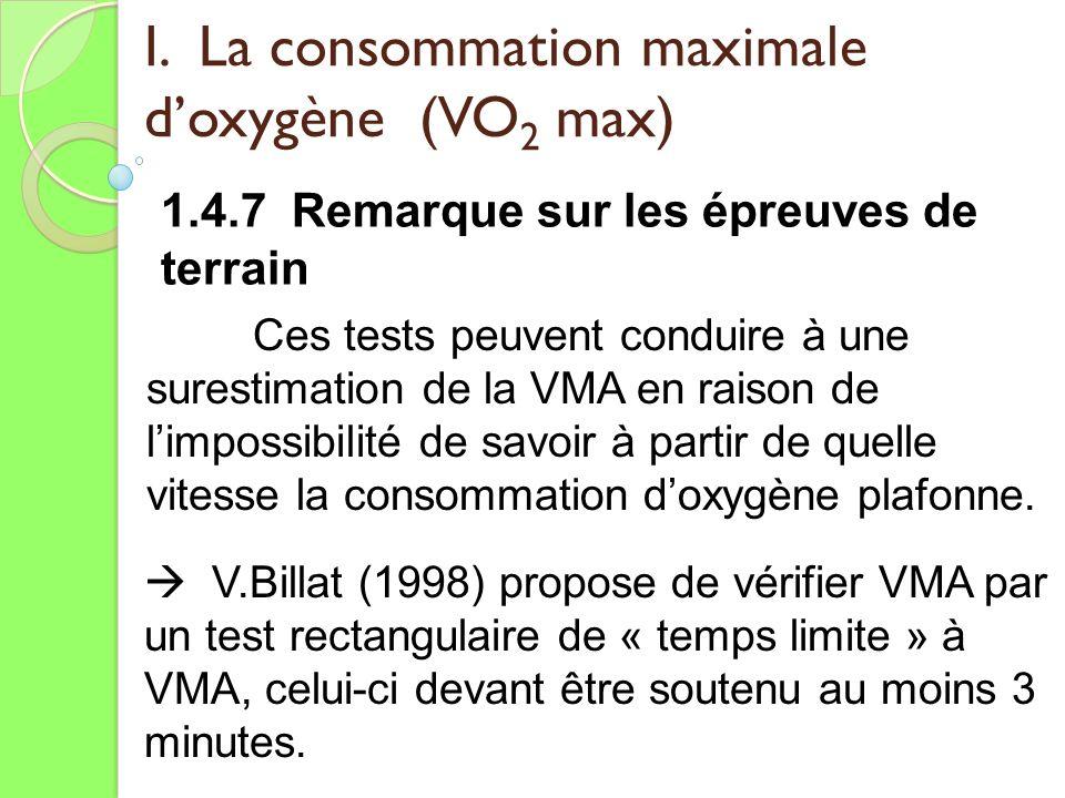 I. La consommation maximale doxygène (VO 2 max) 1.4.7 Remarque sur les épreuves de terrain Ces tests peuvent conduire à une surestimation de la VMA en