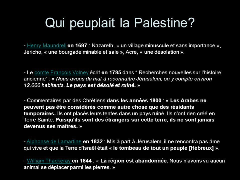 Qui peuplait la Palestine.