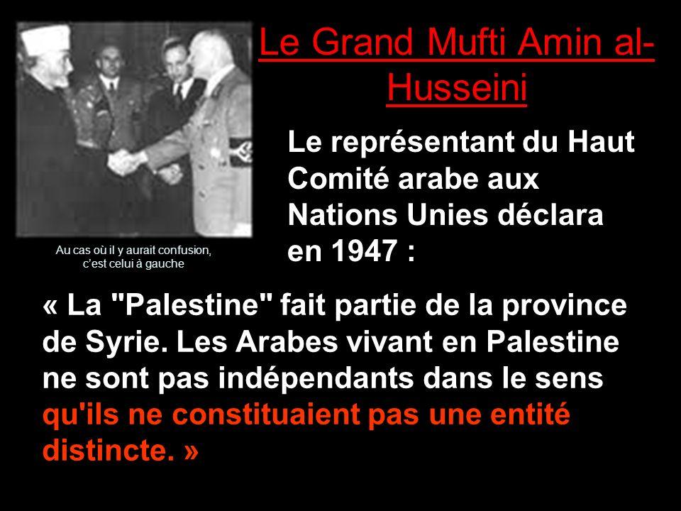 Le Grand Mufti Amin al- Husseini Le représentant du Haut Comité arabe aux Nations Unies déclara en 1947 : « La Palestine fait partie de la province de Syrie.