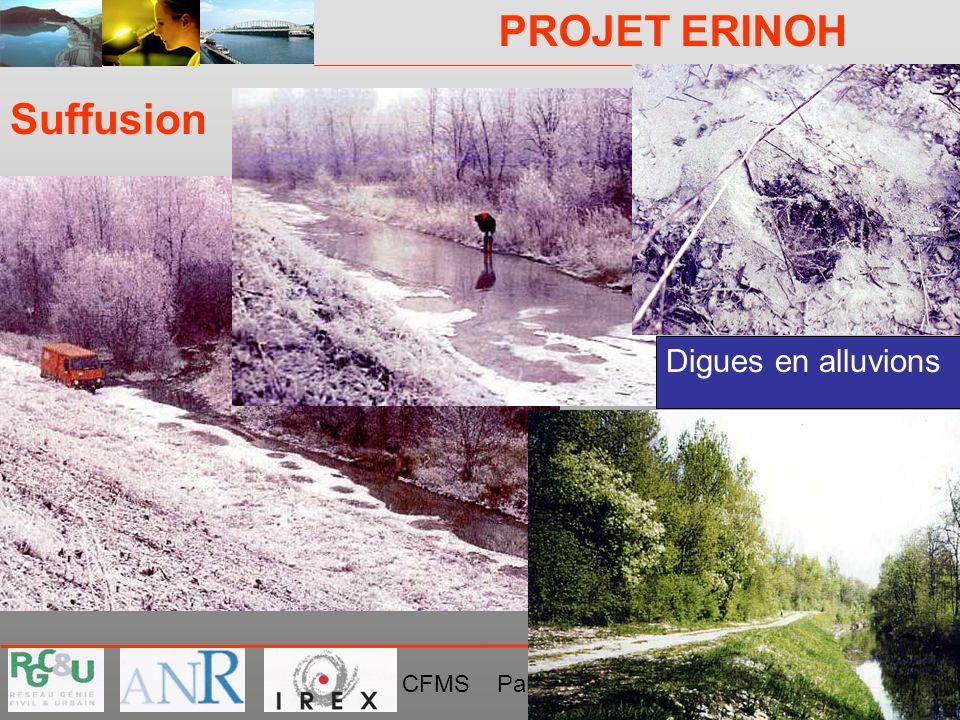 PROJET ERINOH CFMS Paris 9 décembre 09 J-J Fry Suffusion Digues en alluvions