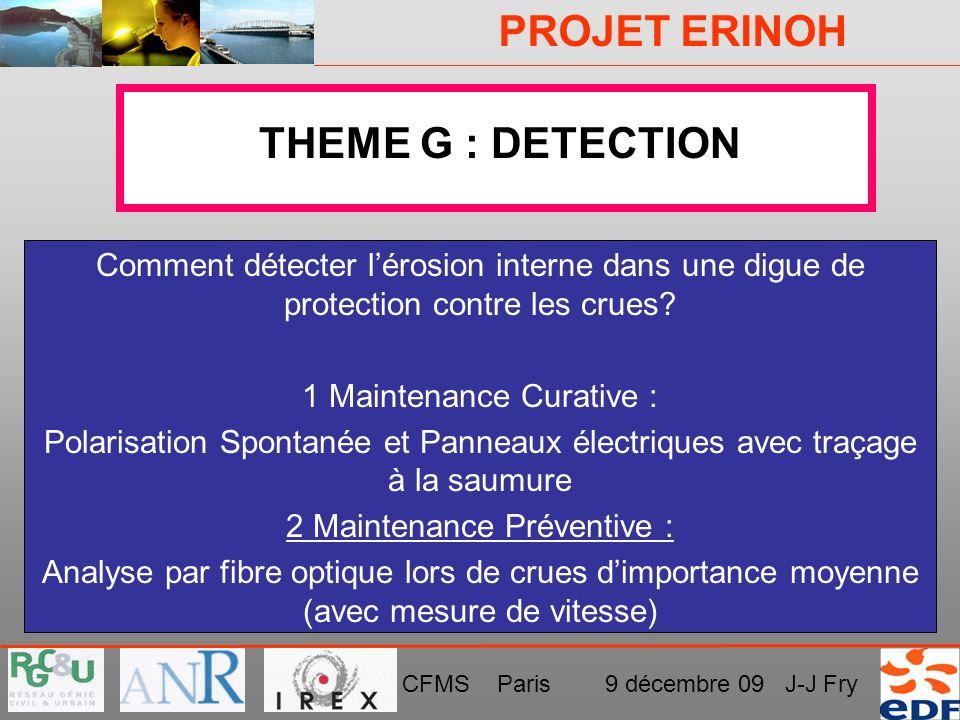 PROJET ERINOH CFMS Paris 9 décembre 09 J-J Fry THEME G : DETECTION Comment détecter lérosion interne dans une digue de protection contre les crues? 1