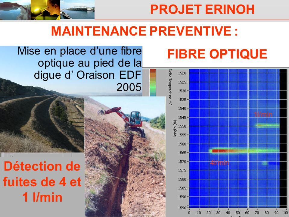 PROJET ERINOH CFMS Paris 9 décembre 09 J-J Fry OPTIQUE FIBRE OPTIQUE Mise en place dune fibre optique au pied de la digue d Oraison EDF 2005 Détection