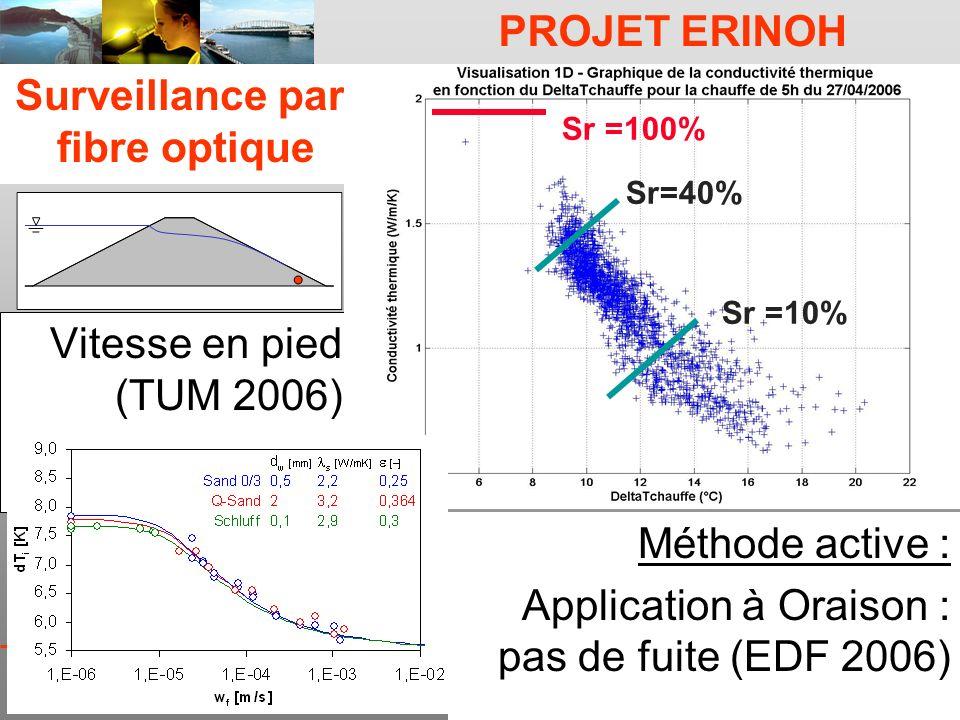 PROJET ERINOH CFMS Paris 9 décembre 09 J-J Fry Surveillance par fibre optique Vitesse en pied (TUM 2006) Sr =10% Sr=40% Sr =100% Méthode active : Appl