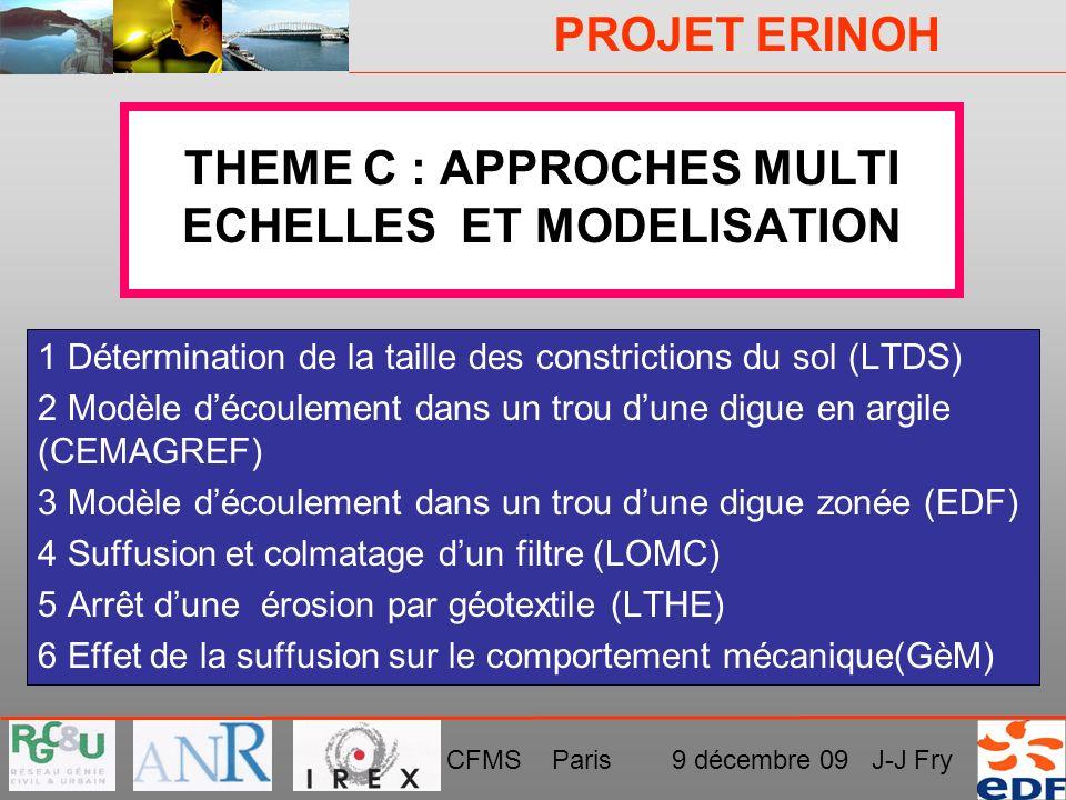 PROJET ERINOH CFMS Paris 9 décembre 09 J-J Fry THEME C : APPROCHES MULTI ECHELLES ET MODELISATION 1 Détermination de la taille des constrictions du so