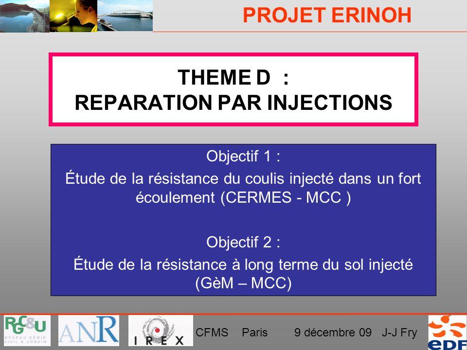 PROJET ERINOH CFMS Paris 9 décembre 09 J-J Fry THEME D : REPARATION PAR INJECTIONS Objectif 1 : Étude de la résistance du coulis injecté dans un fort
