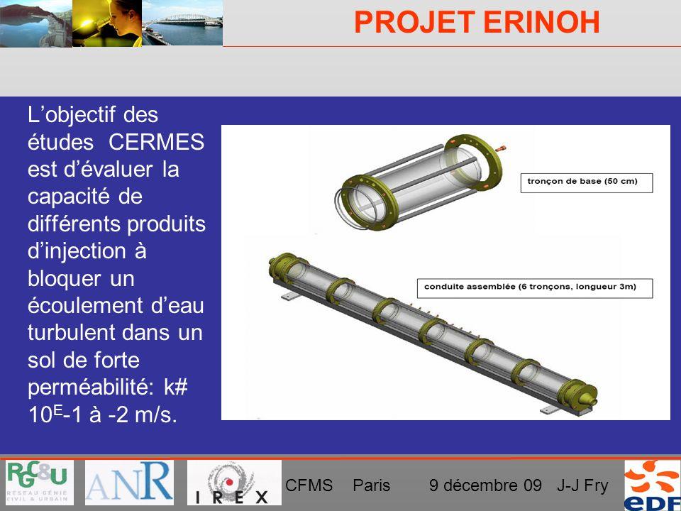 PROJET ERINOH CFMS Paris 9 décembre 09 J-J Fry DISPOSITIF EXPÉRIMENTAL AU CERMES Lobjectif des études CERMES est dévaluer la capacité de différents pr