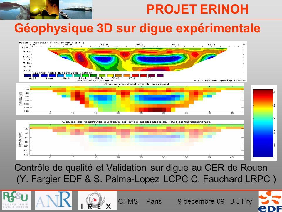 PROJET ERINOH CFMS Paris 9 décembre 09 J-J Fry Géophysique 3D sur digue expérimentale Contrôle de qualité et Validation sur digue au CER de Rouen (Y.