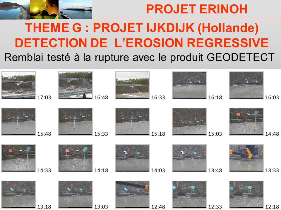 PROJET ERINOH CFMS Paris 9 décembre 09 J-J Fry THEME G : PROJET IJKDIJK (Hollande) DETECTION DE LEROSION REGRESSIVE Remblai testé à la rupture avec le