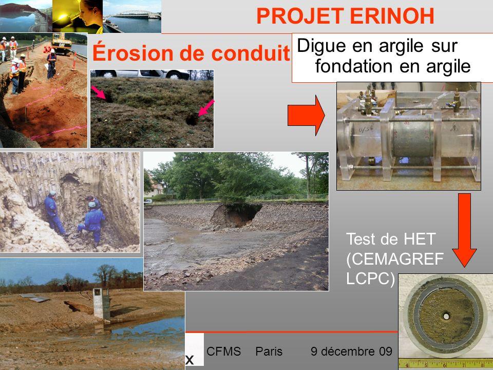 PROJET ERINOH CFMS Paris 9 décembre 09 J-J Fry Érosion de conduit Digue en argile sur fondation en argile Test de HET (CEMAGREF LCPC)