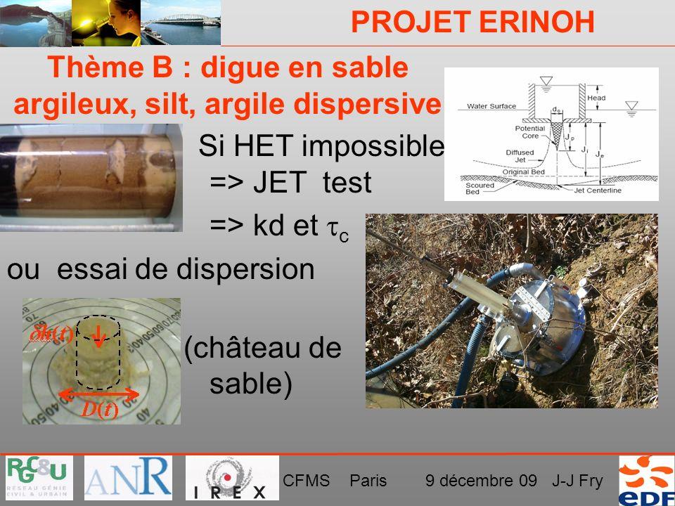 PROJET ERINOH CFMS Paris 9 décembre 09 J-J Fry Thème B : digue en sable argileux, silt, argile dispersive Si HET impossible => JET test => kd et c ou