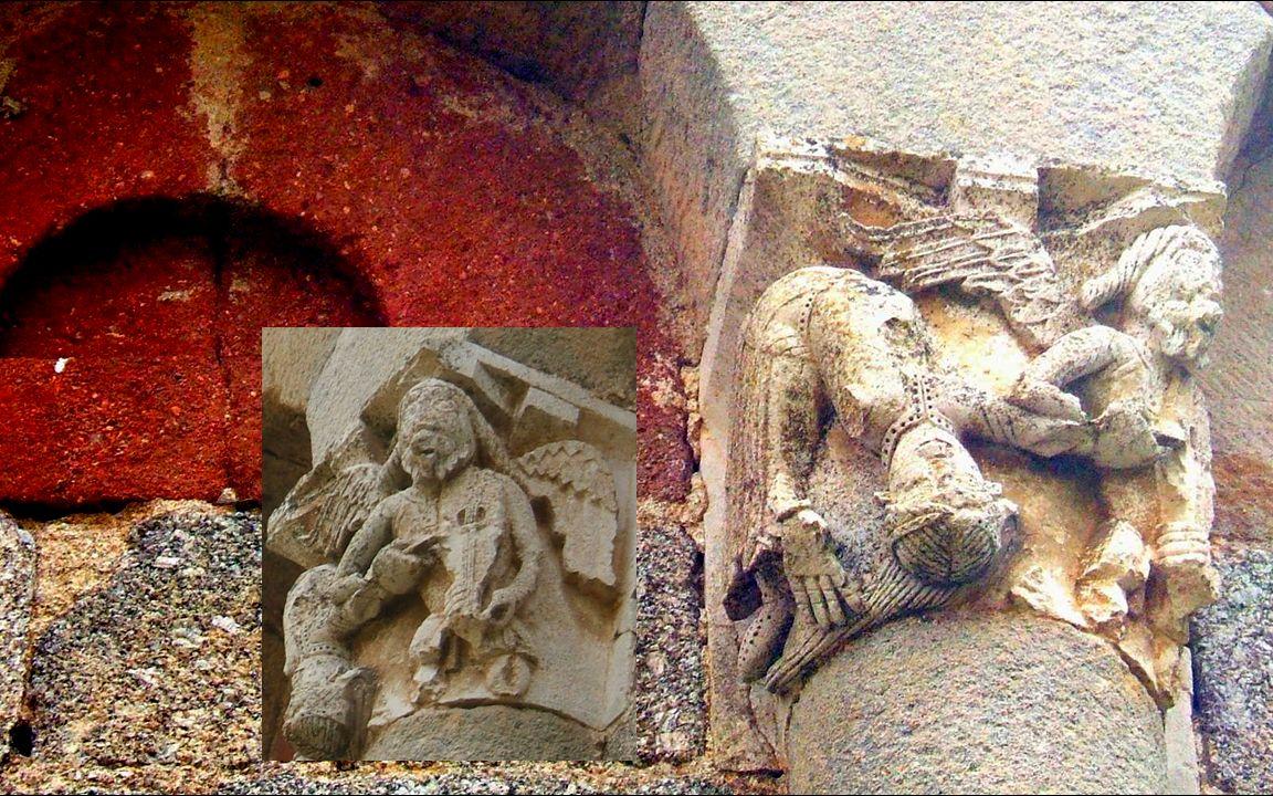 Il sagit dun « retournement », cest à dire une conversion intérieure que le sculpteur présente ici par un personnage dédoublé: une main au sol sur ses cheveux et lautre déjà au ciel ou qui le souhaite par cette main de lautre partie de lui-même qui chante les louanges du Très-haut.