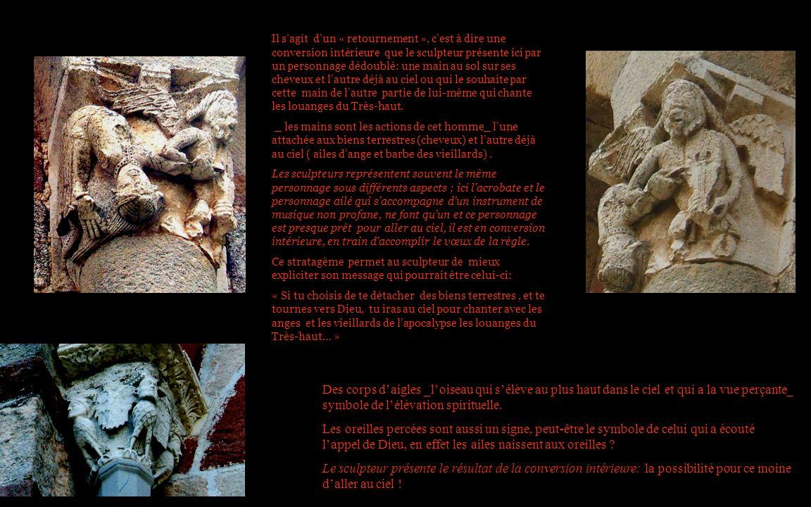 Il sagit dun « retournement », cest à dire une conversion intérieure que le sculpteur présente ici par un personnage dédoublé: une main au sol sur ses