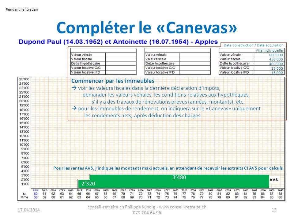 Compléter le «Canevas» 17.04.2014 conseil-retraite.ch Philippe Kündig - www.conseil-retraite.ch 079 204 64 96 13 Commencer par les immeubles voir les