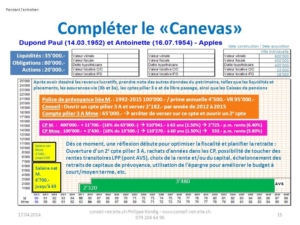 Compléter le «Canevas» 17.04.2014 conseil-retraite.ch Philippe Kündig - www.conseil-retraite.ch 079 204 64 96 15 Salaire net M. 6700.- jusquà 63 Salai