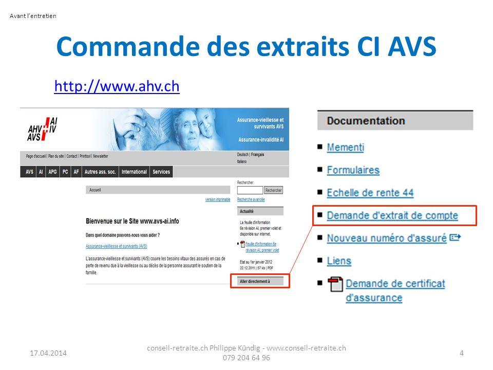 Commande des extraits CI AVS http://www.ahv.ch 17.04.2014 conseil-retraite.ch Philippe Kündig - www.conseil-retraite.ch 079 204 64 96 4 Avant lentreti