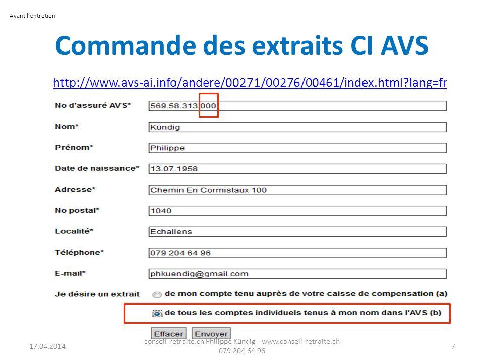 Commande des extraits CI AVS http://www.avs-ai.info/andere/00271/00276/00461/index.html?lang=fr 17.04.2014 conseil-retraite.ch Philippe Kündig - www.c