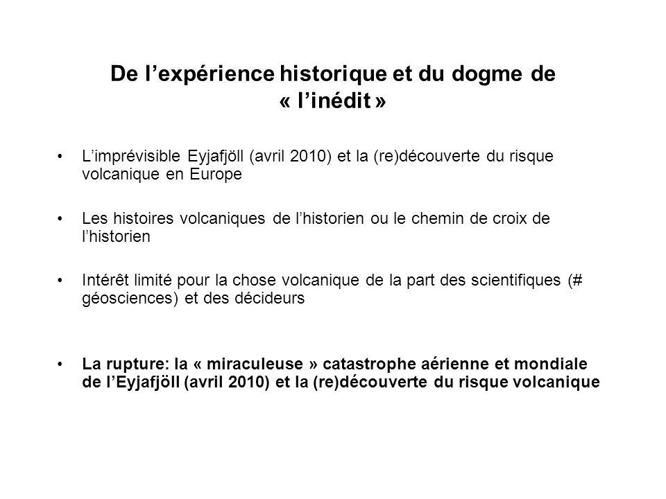 De lexpérience historique et du dogme de « linédit » Limprévisible Eyjafjöll (avril 2010) et la (re)découverte du risque volcanique en Europe Les hist