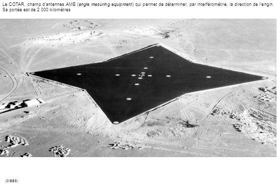 Le COTAR, champ dantennes AME (angle mesuring equipment) qui permet de déterminer, par interférométrie, la direction de lengin. Sa portée est de 2 000