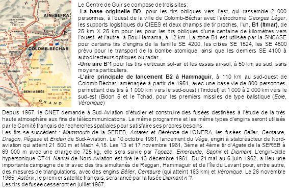 Le Centre de Guir se compose de trois sites : -La base originelle BO, pour les tirs obliques vers lest, qui rassemble 2 000 personnes, à l'ouest de la