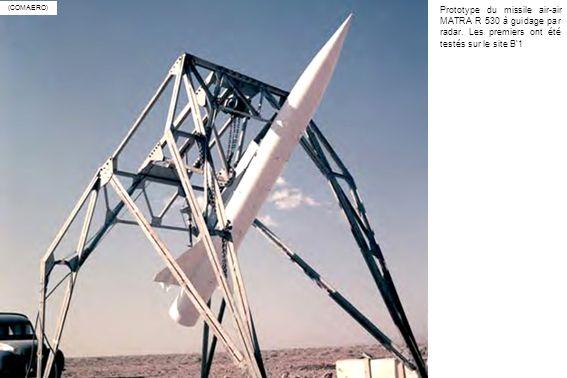 (COMAERO) Prototype du missile air-air MATRA R 530 à guidage par radar. Les premiers ont été testés sur le site B1