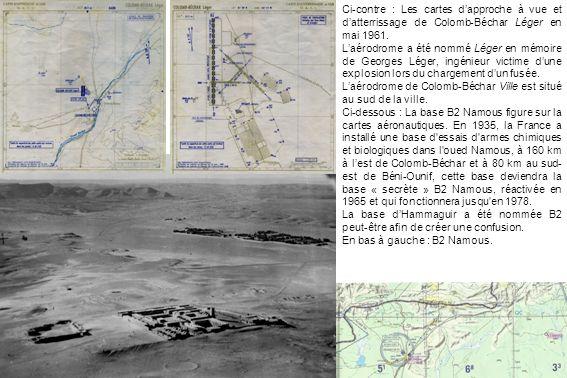 Ci-contre : Les cartes dapproche à vue et datterrissage de Colomb-Béchar Léger en mai 1961. Laérodrome a été nommé Léger en mémoire de Georges Léger,