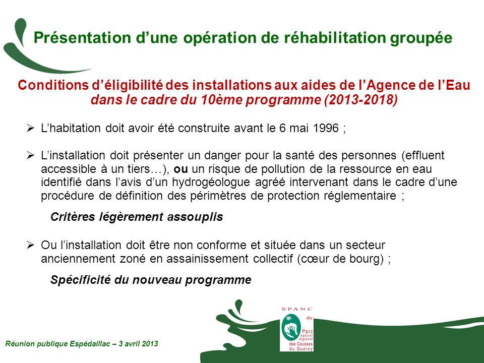 Présentation dune opération de réhabilitation groupée Conditions déligibilité des installations aux aides de lAgence de lEau dans le cadre du 10ème pr