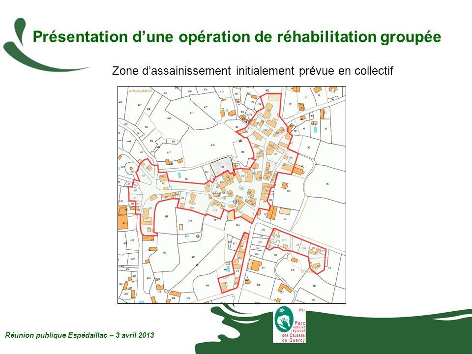 Présentation dune opération de réhabilitation groupée Réunion publique Espédaillac – 3 avril 2013 Zone dassainissement initialement prévue en collecti