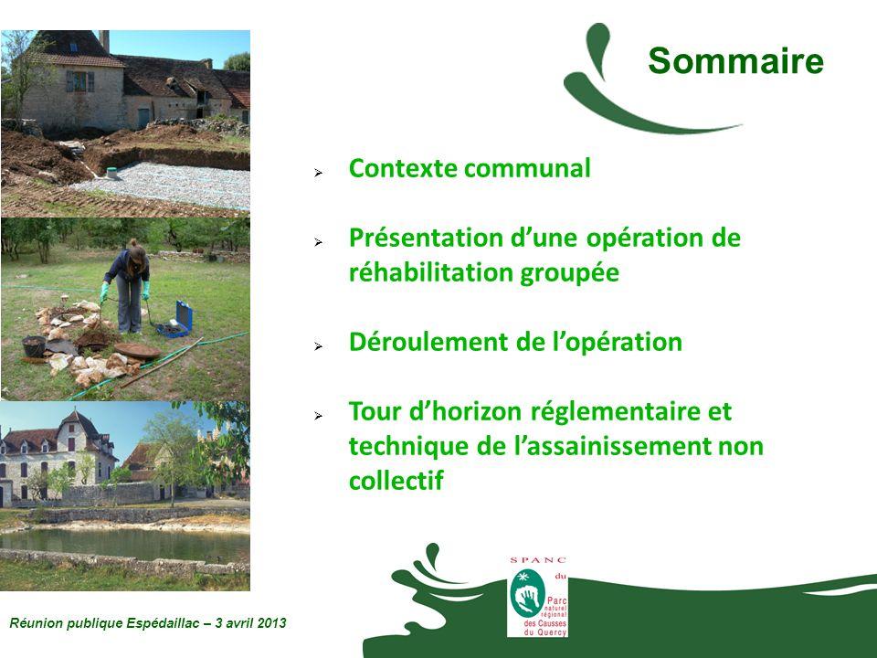 Les grandes familles de système Réunion publique Espédaillac – 3 avril 2013 Le traitement des eaux usées est réalisé soit : -dans le sol en place, ou un sol reconstitué ; -par un dispositif de traitement agréé par lÉtat.