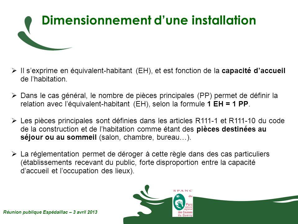 Dimensionnement dune installation Réunion publique Espédaillac – 3 avril 2013 Il sexprime en équivalent-habitant (EH), et est fonction de la capacité