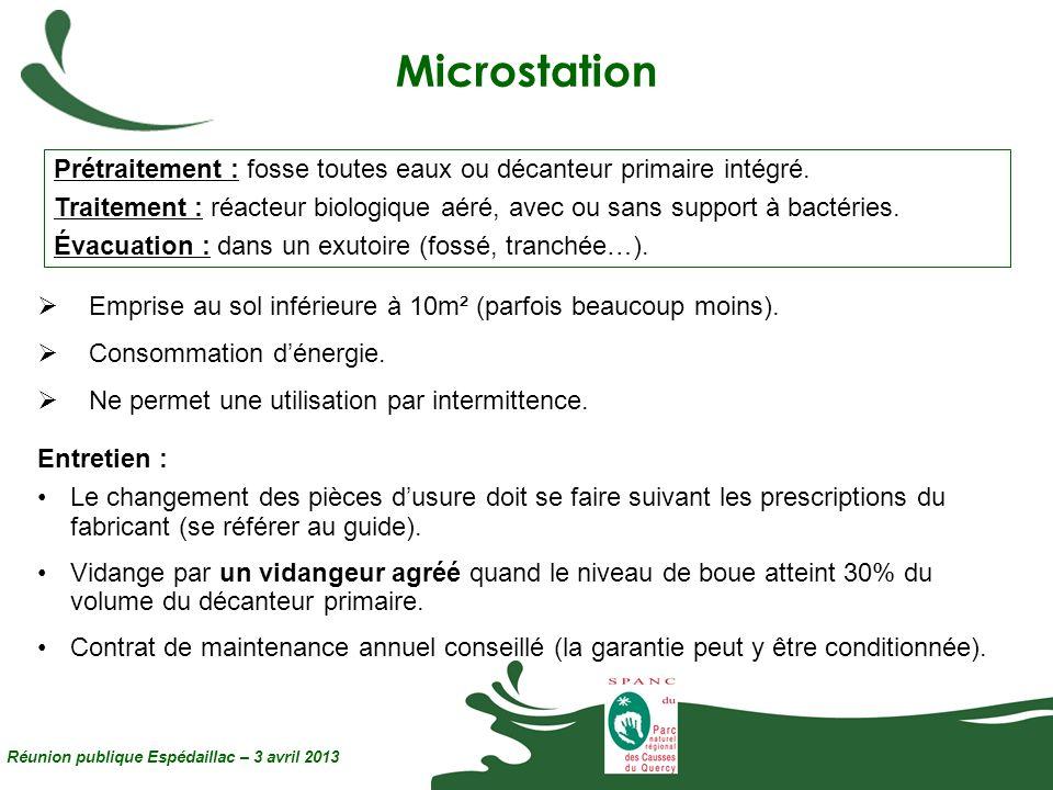 Microstation Réunion publique Espédaillac – 3 avril 2013 Prétraitement : fosse toutes eaux ou décanteur primaire intégré. Traitement : réacteur biolog