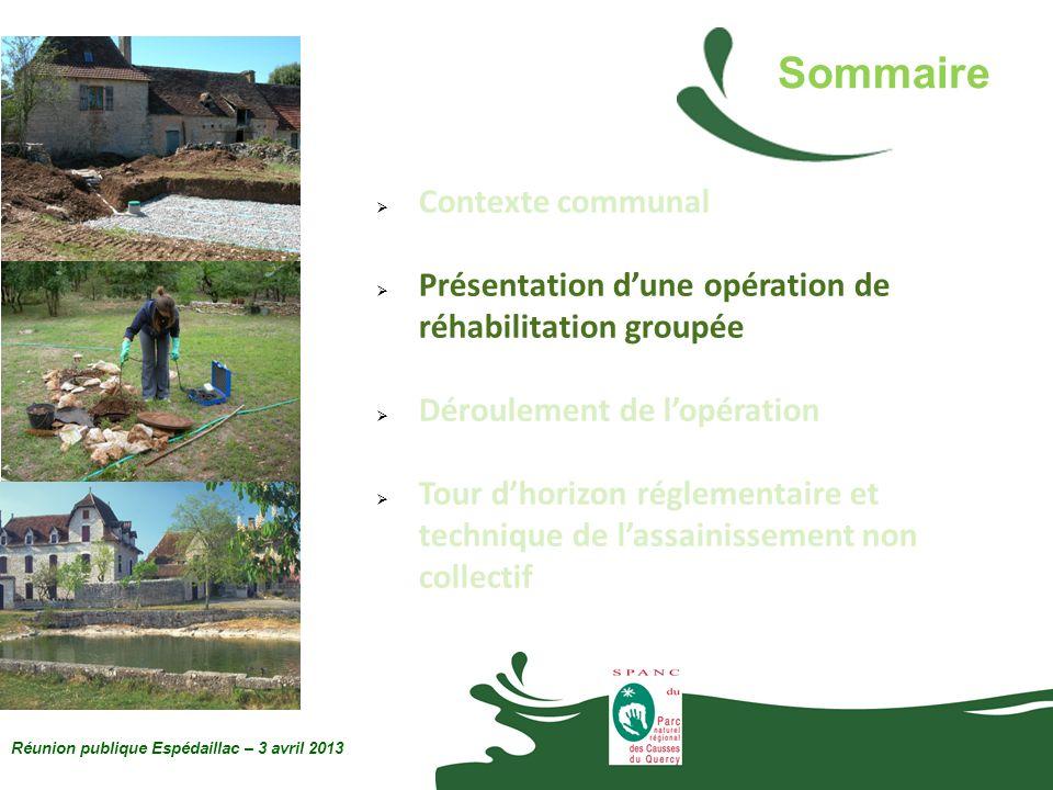 Réunion publique Espédaillac – 3 avril 2013 Un système dassainissement non collectif désigne toute installation assurant : la collecte des eaux usées ; le traitement des eaux prétraitées ; l évacuation des eaux traitées.
