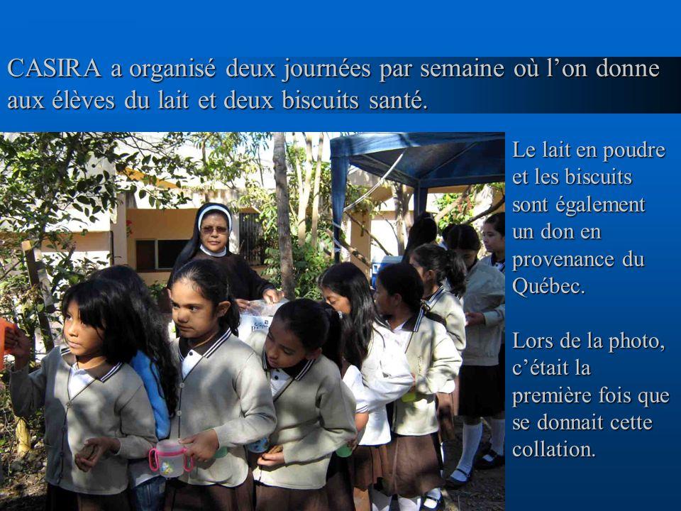 CASIRA a organisé deux journées par semaine où lon donne aux élèves du lait et deux biscuits santé. Le lait en poudre et les biscuits sont également u