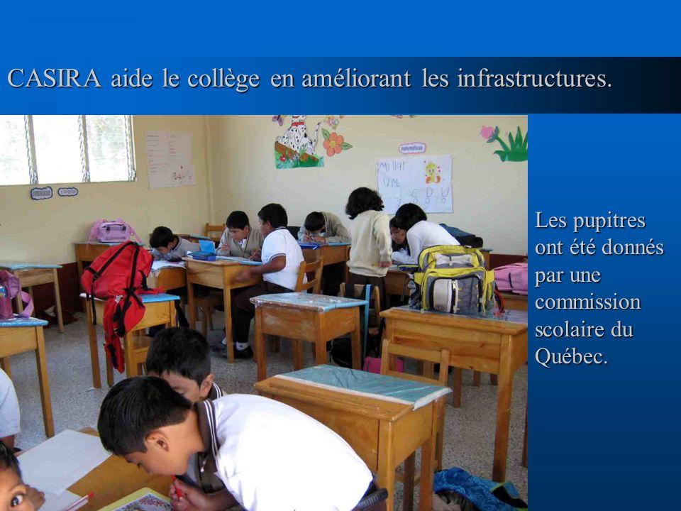 CASIRA aide le collège en améliorant les infrastructures. Les pupitres ont été donnés par une commission scolaire du Québec.