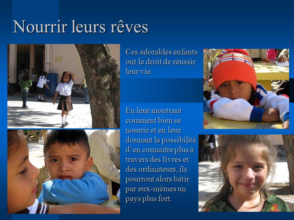 Nourrir leurs rêves Ces adorables enfants ont le droit de réussir leur vie. En leur montrant comment bien se nourrir et en leur donnant la possibilité