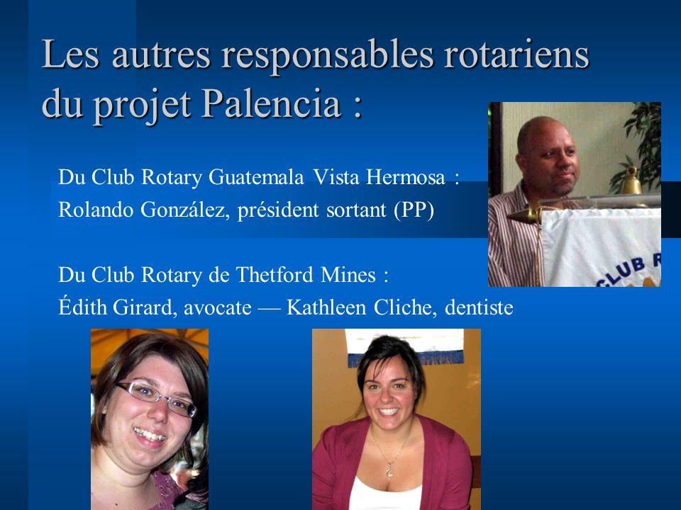 Les autres responsables rotariens du projet Palencia : Du Club Rotary Guatemala Vista Hermosa : Rolando González, président sortant (PP) Du Club Rotar