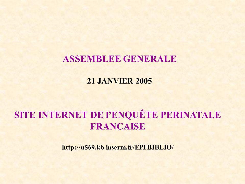 ASSEMBLEE GENERALE 21 JANVIER 2005 SITE INTERNET DE lENQUÊTE PERINATALE FRANCAISE http://u569.kb.inserm.fr/EPFBIBLIO/