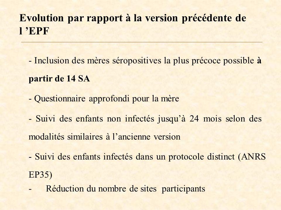 Evolution par rapport à la version précédente de l EPF - Inclusion des mères séropositives la plus précoce possible à partir de 14 SA - Questionnaire approfondi pour la mère - Suivi des enfants non infectés jusquà 24 mois selon des modalités similaires à lancienne version - Suivi des enfants infectés dans un protocole distinct (ANRS EP35) - Réduction du nombre de sites participants