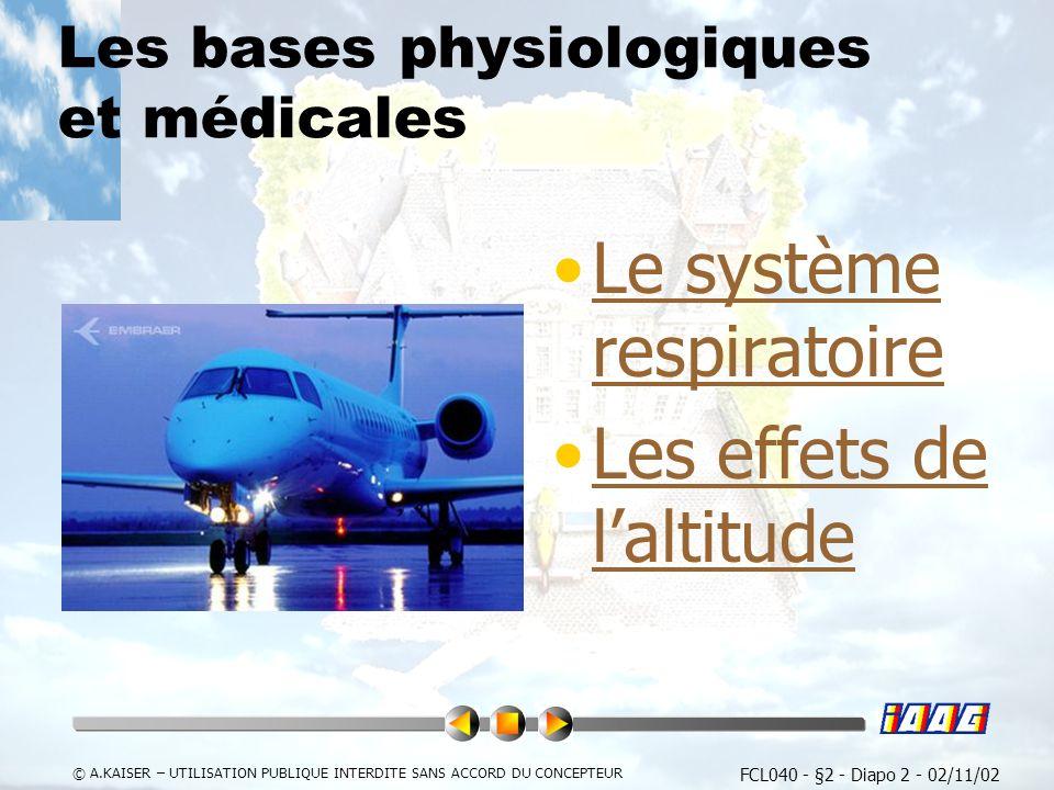 FCL040 - §2 - Diapo 3 - 02/11/02 © A.KAISER – UTILISATION PUBLIQUE INTERDITE SANS ACCORD DU CONCEPTEUR Le système respiratoire Besoins en oxygène Physiologie Circulation