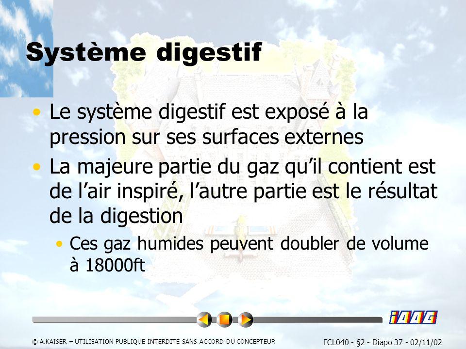 FCL040 - §2 - Diapo 37 - 02/11/02 © A.KAISER – UTILISATION PUBLIQUE INTERDITE SANS ACCORD DU CONCEPTEUR Système digestif Le système digestif est exposé à la pression sur ses surfaces externes La majeure partie du gaz quil contient est de lair inspiré, lautre partie est le résultat de la digestion Ces gaz humides peuvent doubler de volume à 18000ft
