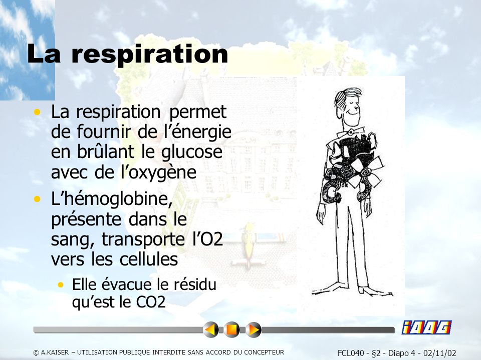 FCL040 - §2 - Diapo 4 - 02/11/02 © A.KAISER – UTILISATION PUBLIQUE INTERDITE SANS ACCORD DU CONCEPTEUR La respiration La respiration permet de fournir de lénergie en brûlant le glucose avec de loxygène Lhémoglobine, présente dans le sang, transporte lO2 vers les cellules Elle évacue le résidu quest le CO2