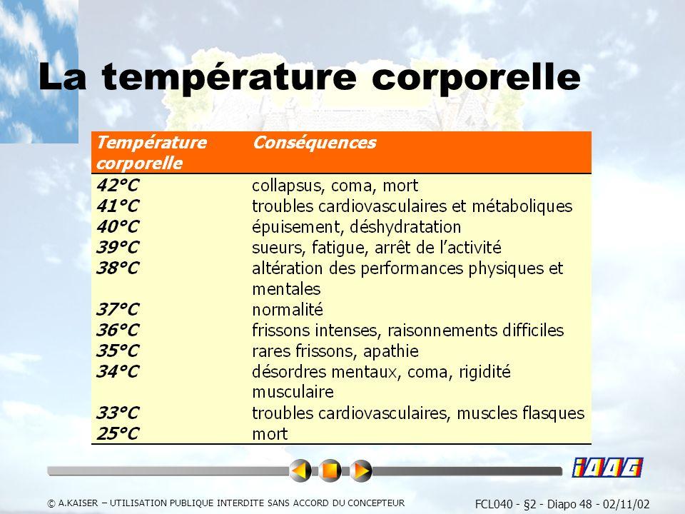 FCL040 - §2 - Diapo 48 - 02/11/02 © A.KAISER – UTILISATION PUBLIQUE INTERDITE SANS ACCORD DU CONCEPTEUR La température corporelle