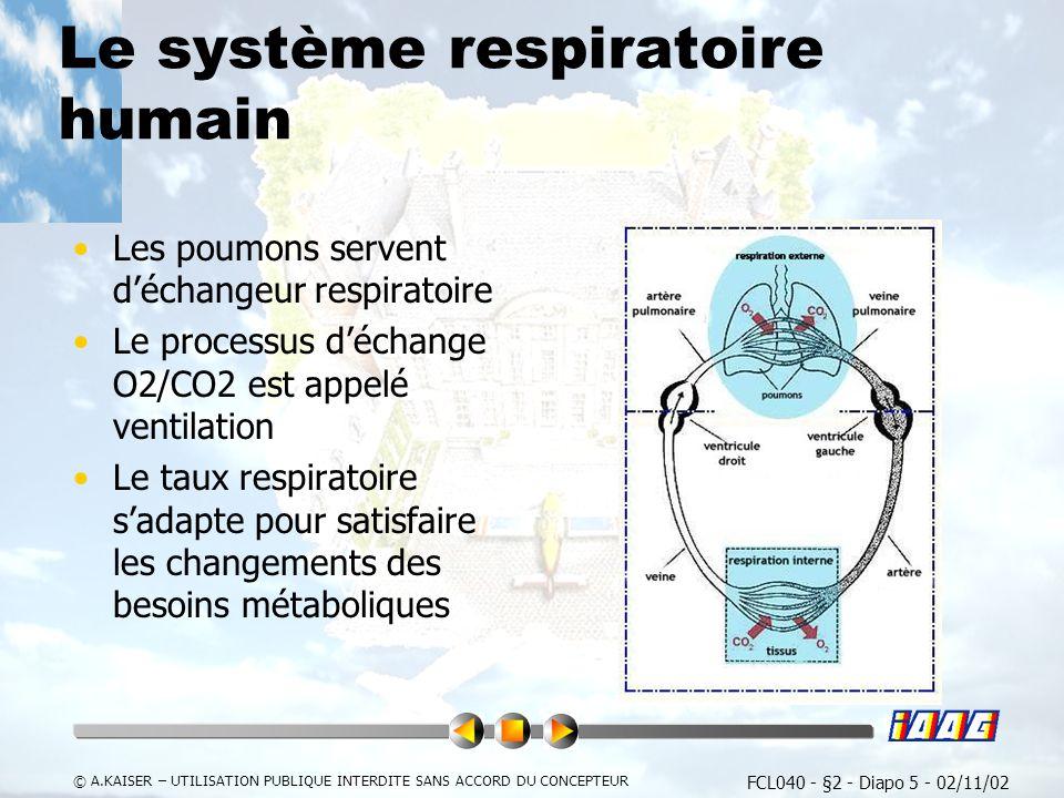 FCL040 - §2 - Diapo 5 - 02/11/02 © A.KAISER – UTILISATION PUBLIQUE INTERDITE SANS ACCORD DU CONCEPTEUR Le système respiratoire humain Les poumons servent déchangeur respiratoire Le processus déchange O2/CO2 est appelé ventilation Le taux respiratoire sadapte pour satisfaire les changements des besoins métaboliques