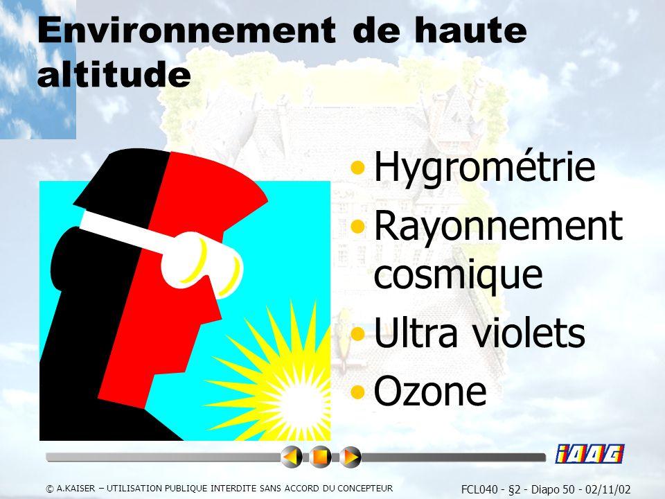 FCL040 - §2 - Diapo 50 - 02/11/02 © A.KAISER – UTILISATION PUBLIQUE INTERDITE SANS ACCORD DU CONCEPTEUR Environnement de haute altitude Hygrométrie Rayonnement cosmique Ultra violets Ozone