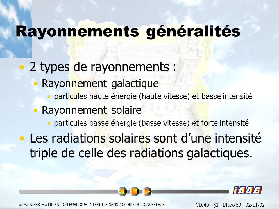 FCL040 - §2 - Diapo 53 - 02/11/02 © A.KAISER – UTILISATION PUBLIQUE INTERDITE SANS ACCORD DU CONCEPTEUR Rayonnements généralités 2 types de rayonnements : Rayonnement galactique particules haute énergie (haute vitesse) et basse intensité Rayonnement solaire particules basse énergie (basse vitesse) et forte intensité Les radiations solaires sont dune intensité triple de celle des radiations galactiques.