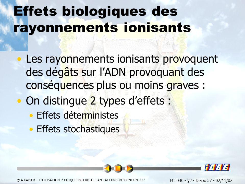FCL040 - §2 - Diapo 57 - 02/11/02 © A.KAISER – UTILISATION PUBLIQUE INTERDITE SANS ACCORD DU CONCEPTEUR Effets biologiques des rayonnements ionisants Les rayonnements ionisants provoquent des dégâts sur lADN provoquant des conséquences plus ou moins graves : On distingue 2 types deffets : Effets déterministes Effets stochastiques