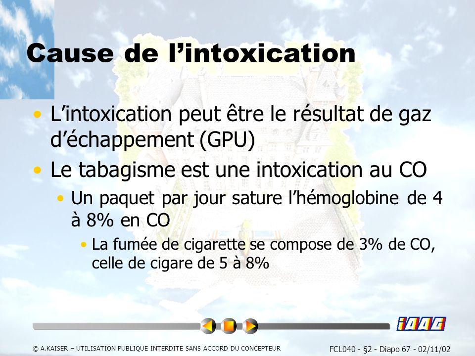 FCL040 - §2 - Diapo 67 - 02/11/02 © A.KAISER – UTILISATION PUBLIQUE INTERDITE SANS ACCORD DU CONCEPTEUR Cause de lintoxication Lintoxication peut être le résultat de gaz déchappement (GPU) Le tabagisme est une intoxication au CO Un paquet par jour sature lhémoglobine de 4 à 8% en CO La fumée de cigarette se compose de 3% de CO, celle de cigare de 5 à 8%