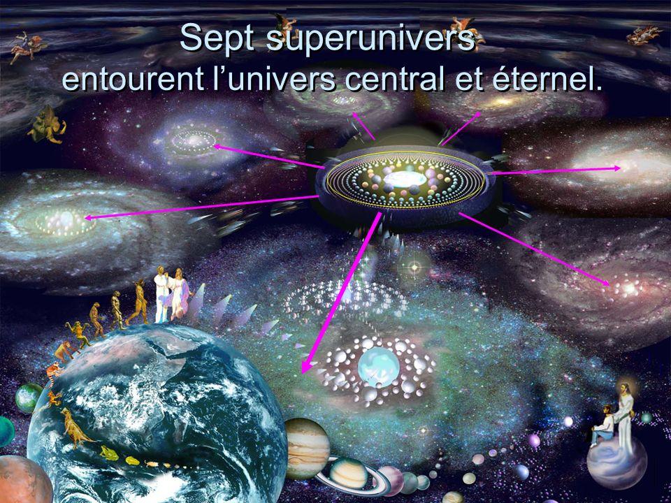 Sept superunivers entourent lunivers central et éternel.